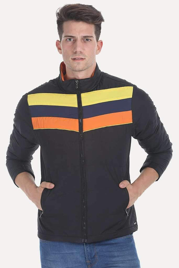 Striped Poly Padded Cire Jacket