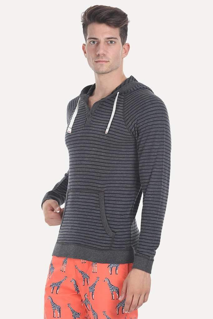Yarn Dyed French Terry Two Button Hoodie