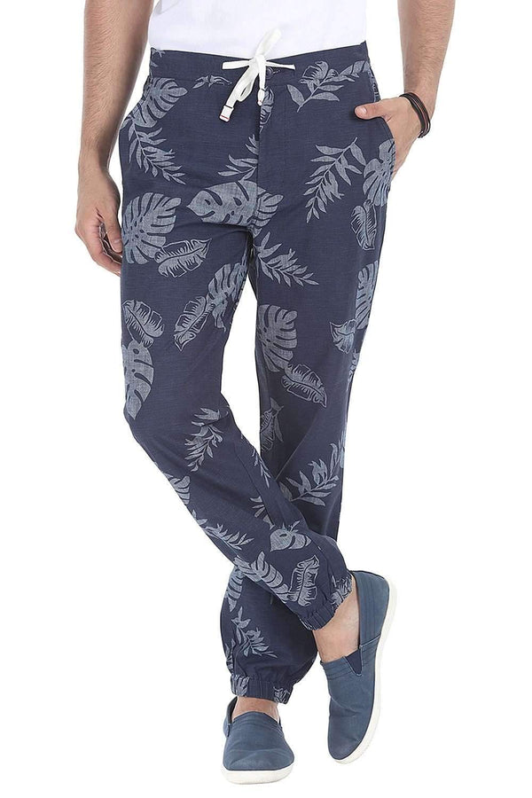 Enzyme Washed Cuff Jogger Printed Pant