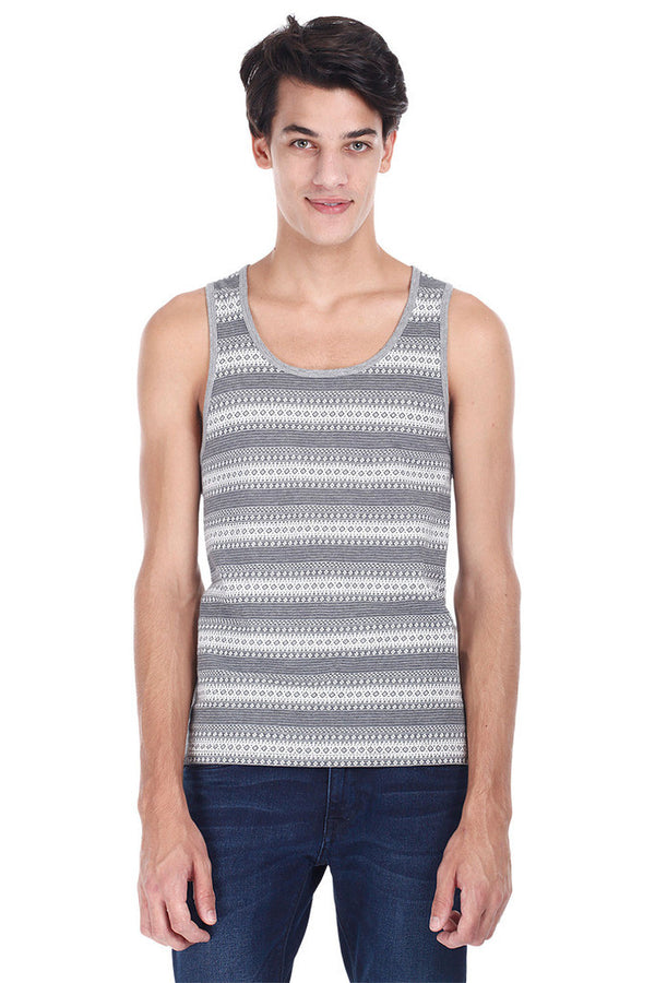 Ash Grey Round Neck Stripe Tank