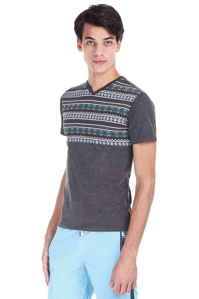 Aztec Print Heather V Neck Tee
