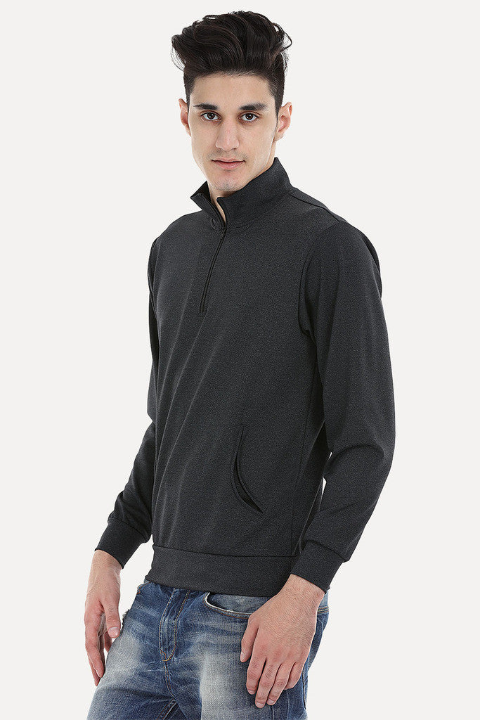 Black Heather Zipper Performance Wear Sweat