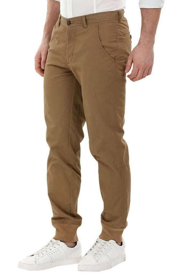Brown Cuff Jogger Twill Pants