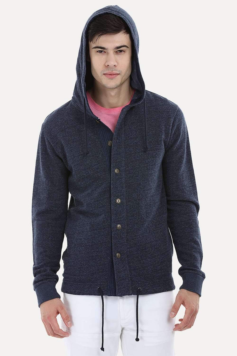 Buttoned Hooded Sweatshirt
