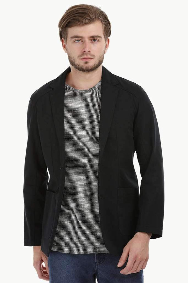 Casual Black Notched Blazer