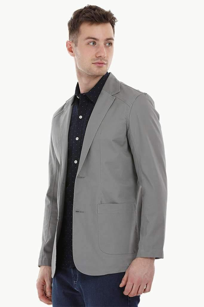 Casual Grey Notched Blazer