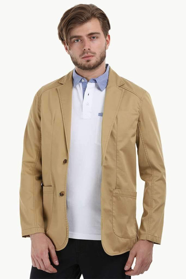 Casual Khaki Notched Blazer