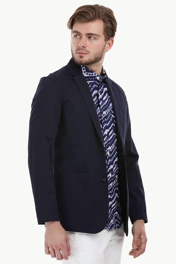 Casual Navy Notched Blazer
