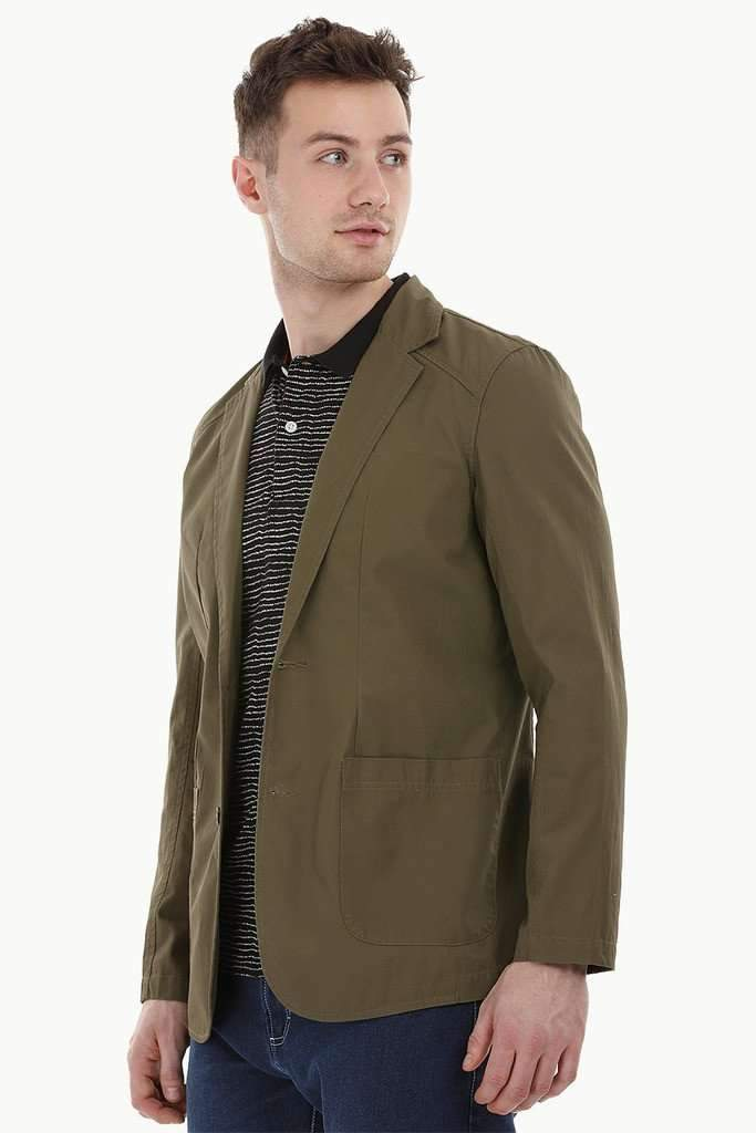 Casual Olive Notched Blazer