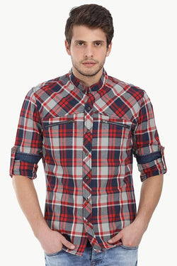 Chinese Collar Plaid Shirt With Zipper Detail