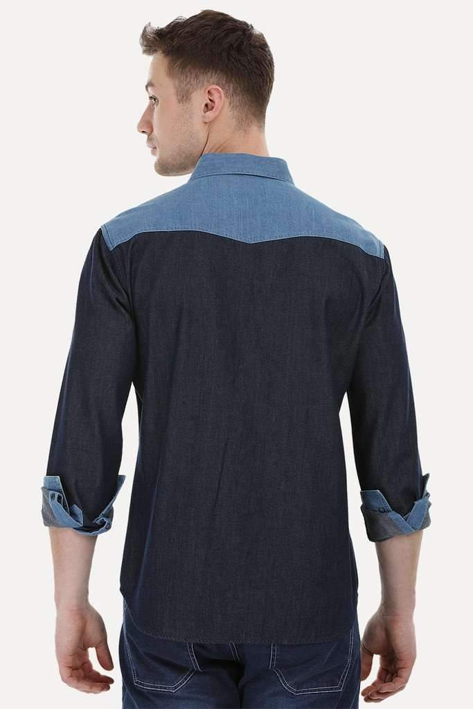 Color-Block Shirt with Snap Buttons