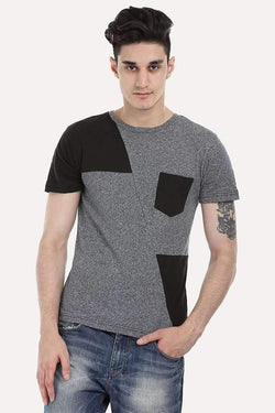 Color Patch Crew Neck Tee