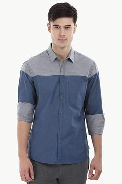 Colorblock Snap Button Shirt