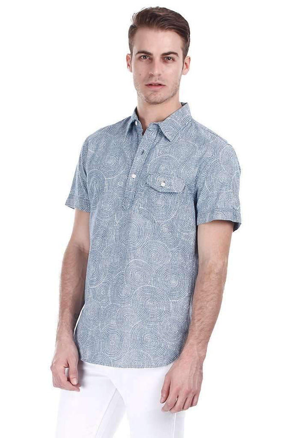 Concentric Circle Mid Wash Denim Pullover Shirt