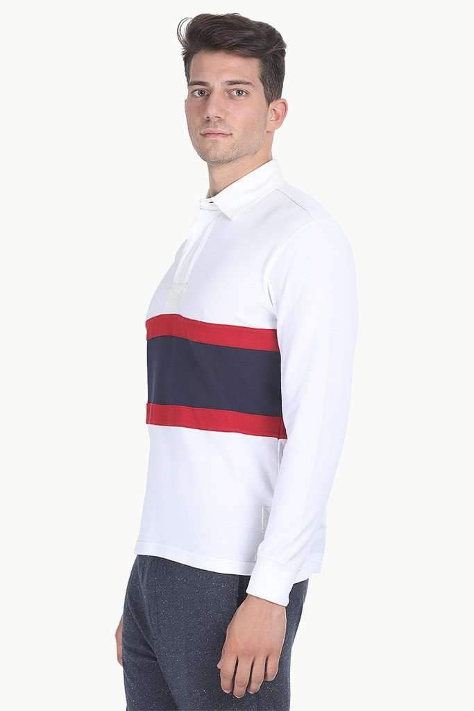 Contrast Color Block Cotton Pique Rugby