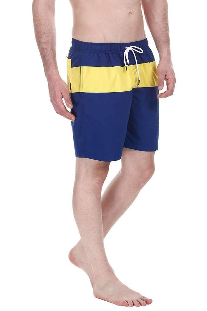 Contrast Color Block Quick Dry Nylon Swim Shorts