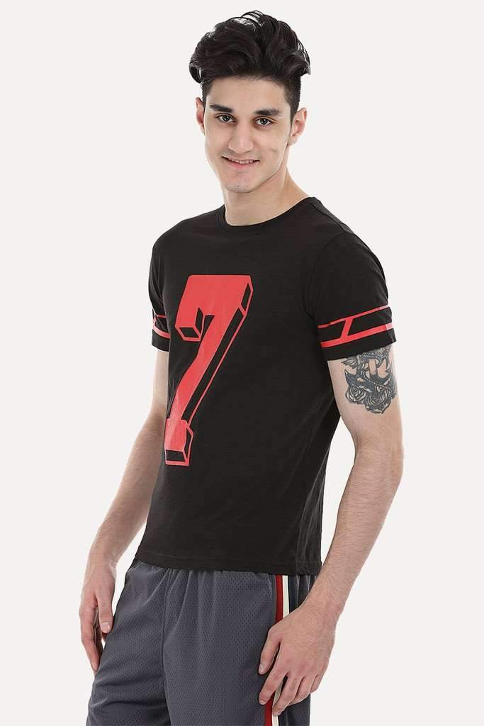 Contrast Number Print Short Sleeve Crew