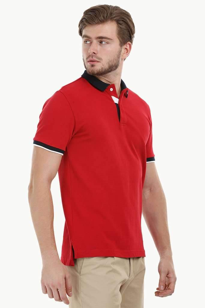 Contrast Placket Red Polo T-Shirt