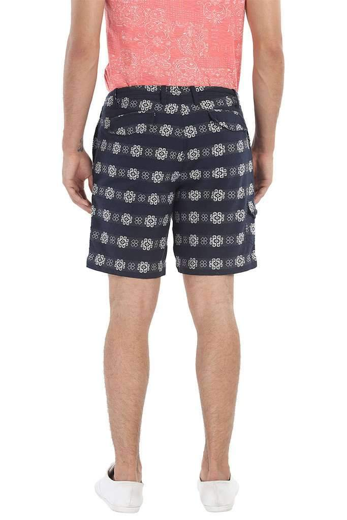 Cotton Dobby Shorts With Printed Patch