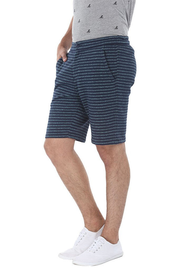 Cotton Knit Striped Slim Fit Shorts