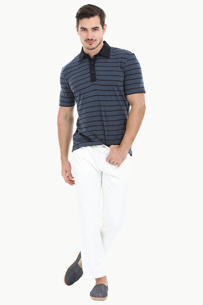 Cotton Linen Blend Contrast Collar Polo
