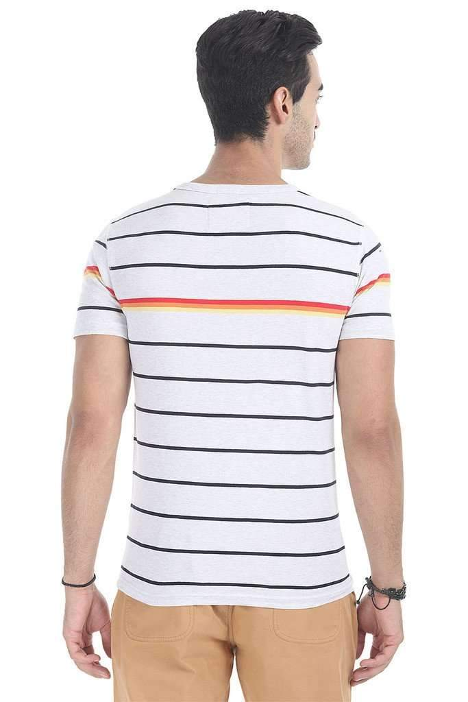 Crew Neck Multi Stripe Design Tee