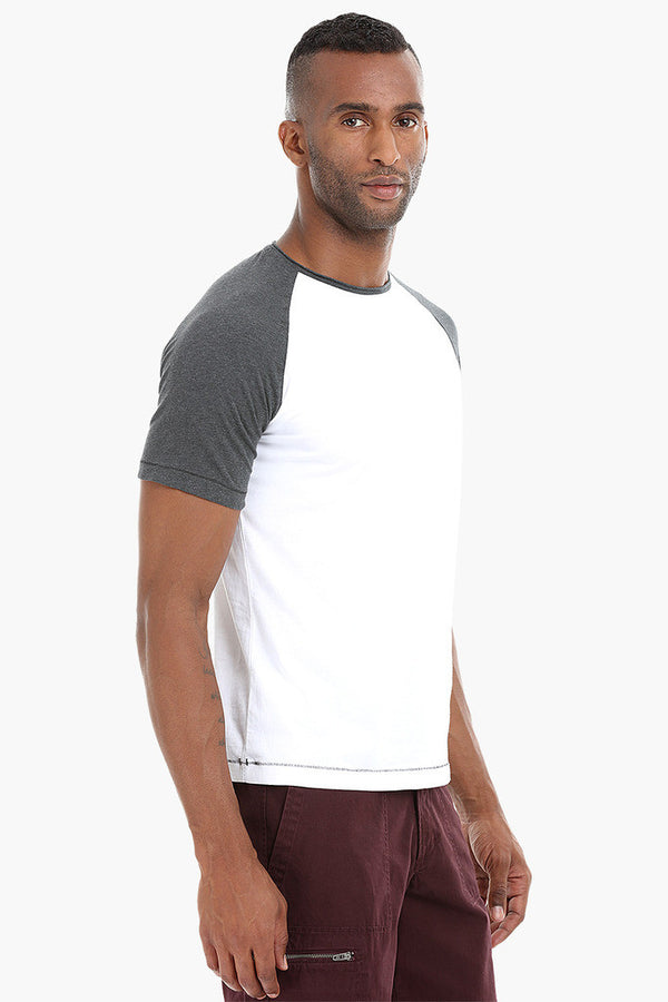 Colorblock Raglan Crew Cotton T-Shirt