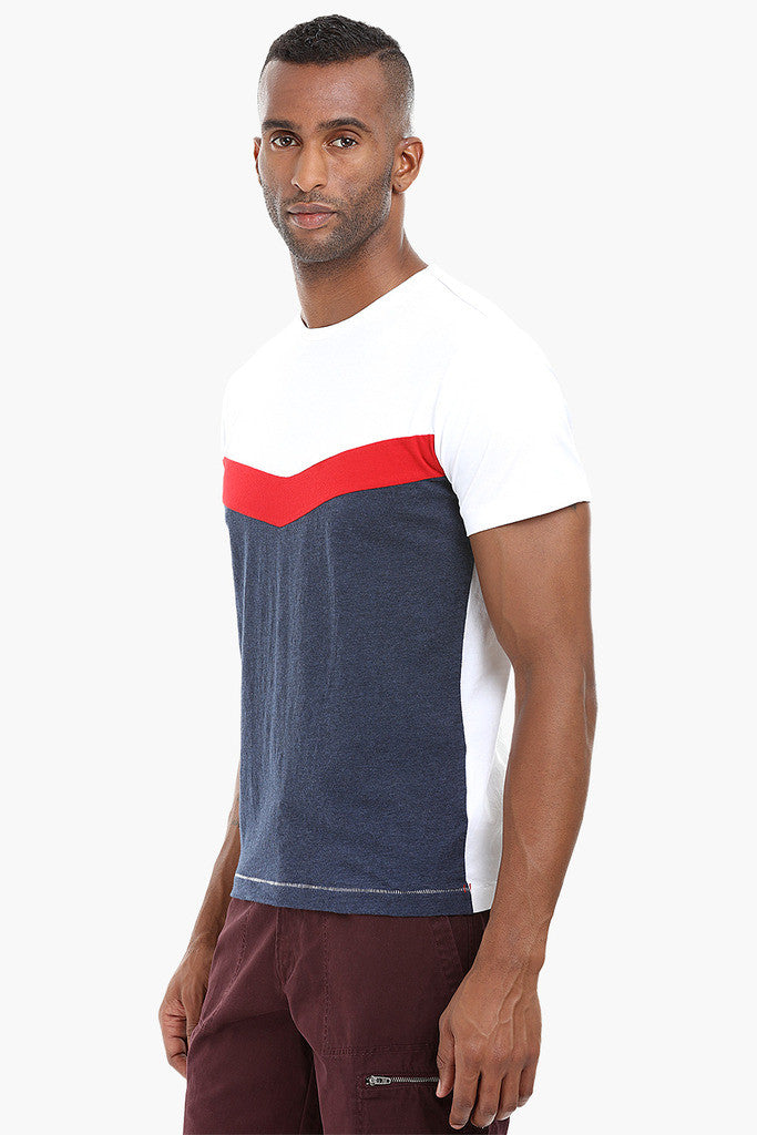 Cut and Sew Panel Cotton T-Shirt