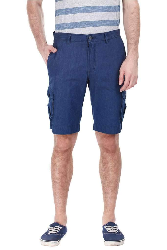 Denim Slub Slim Fit Cargo Shorts