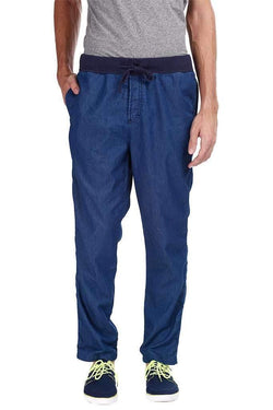 Denim Slub Solid Jogger Pants
