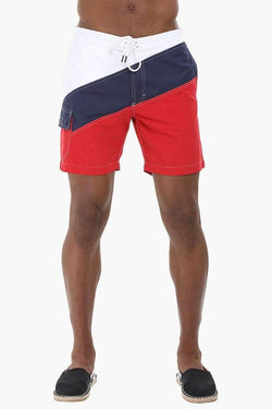 Diagonal Colorblock Nylon Swimshorts