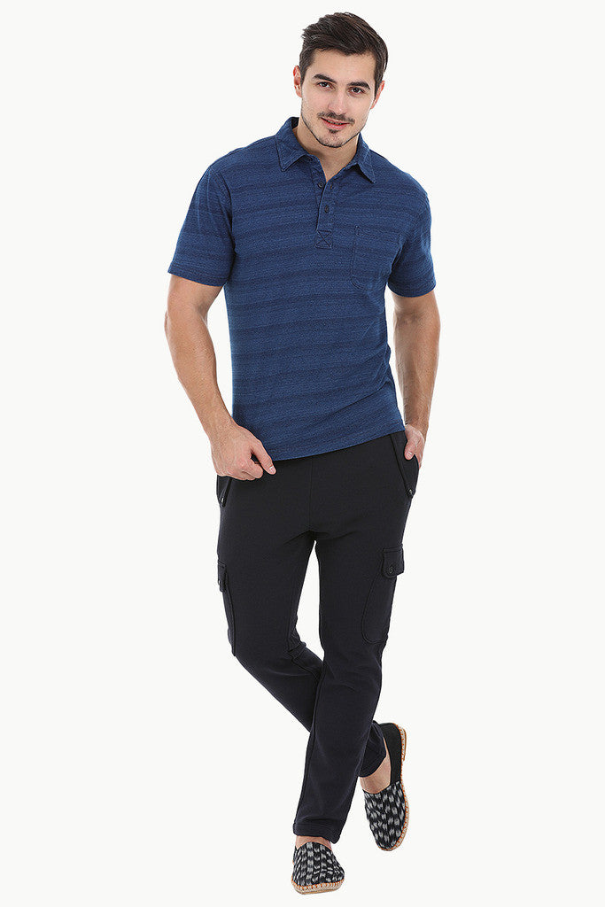 Diagonal Striped Indigo Polo Tee