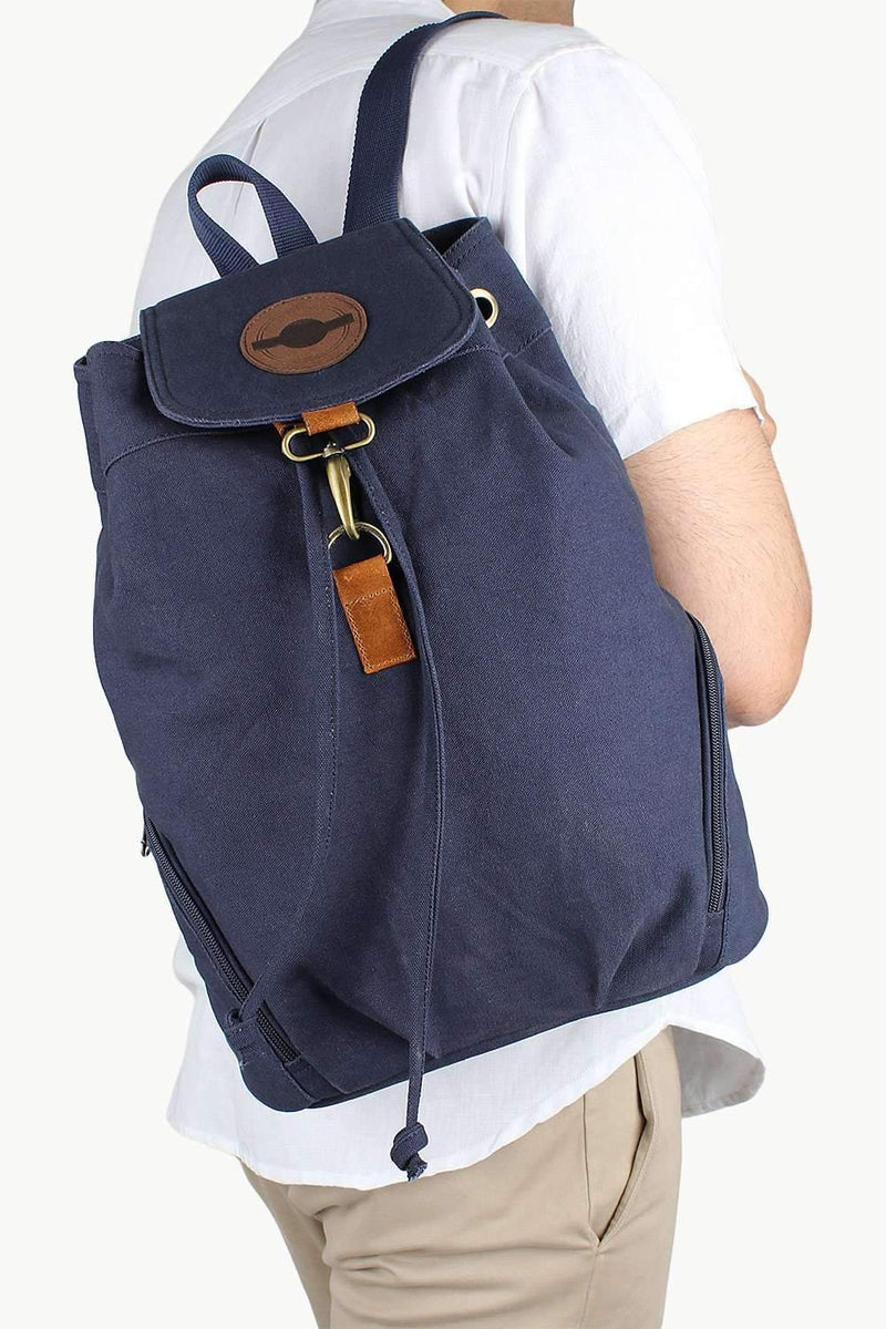 Dyed Canvas Backpack With Drawstrings