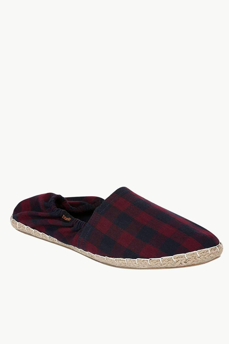 Wine And Navy Checks Elastic Espadrilles