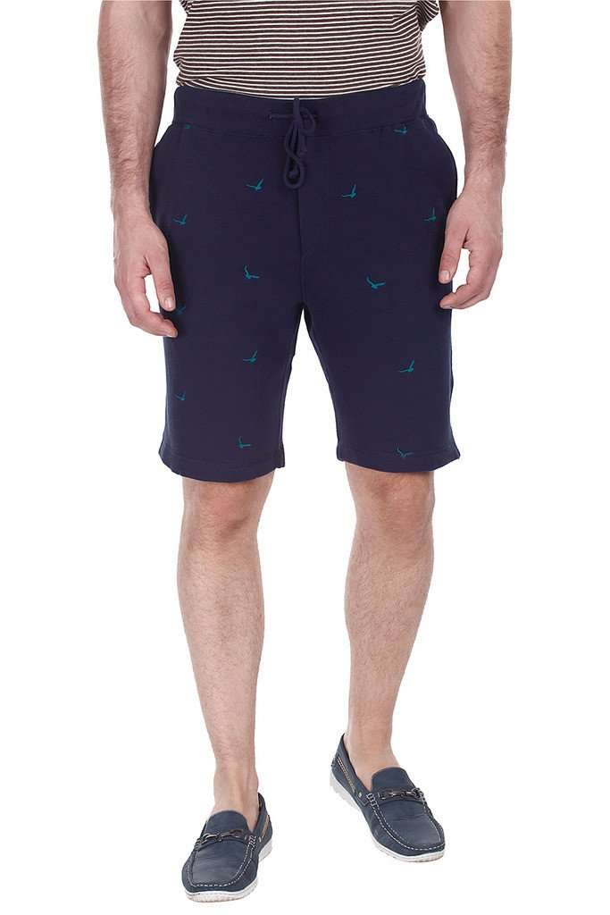 Embroidered Fleece Knit Shorts With Silicon Wash