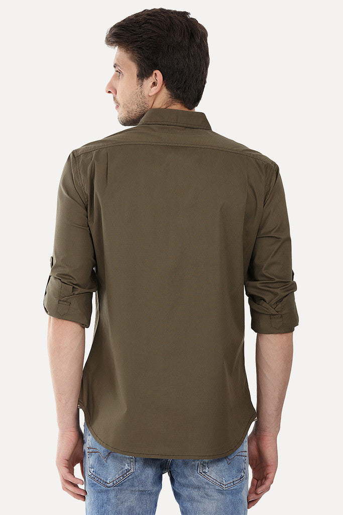 Enzyme Wash Solid Cotton Spandex Shirt