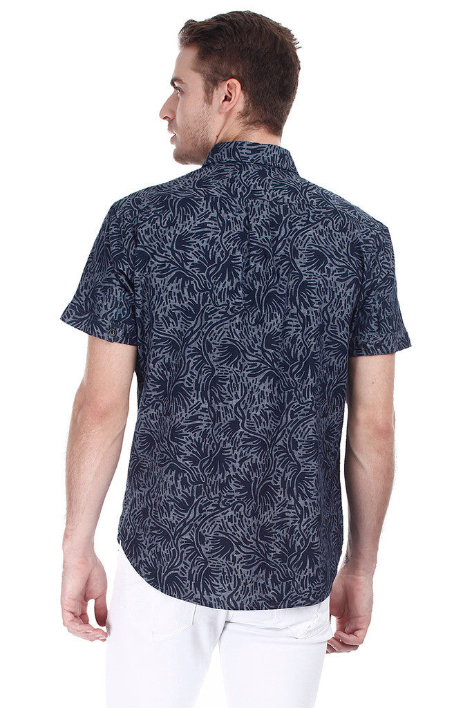 Enzyme Washed Printed Denim Shirt