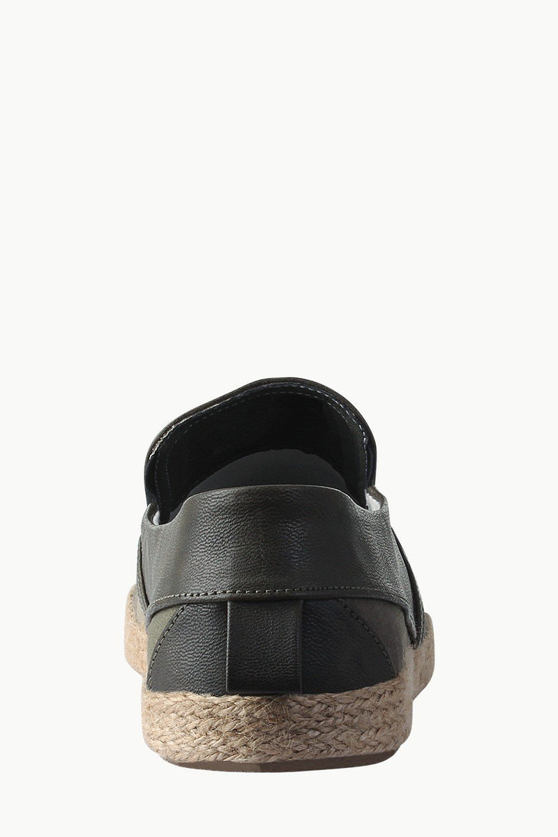 Faux Leather Detail Canvas Espadrilles