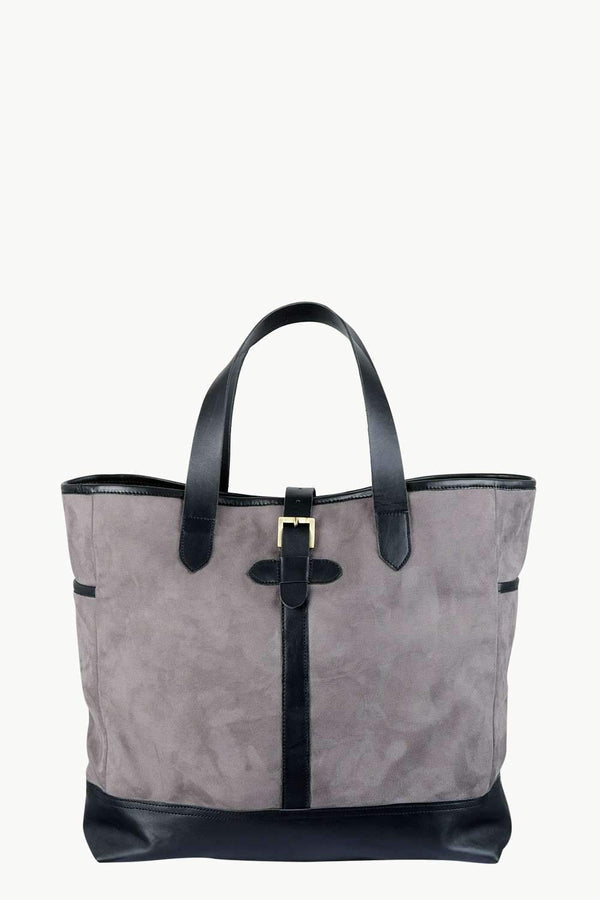 Faux Leather Detail Suede Tote Bag