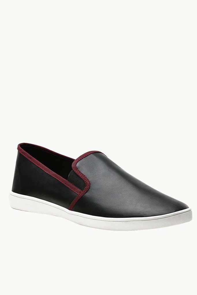 Faux Leather Slip On Plimsolls