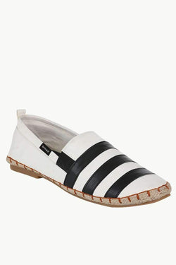 Faux Leather Stripe Espadrilles