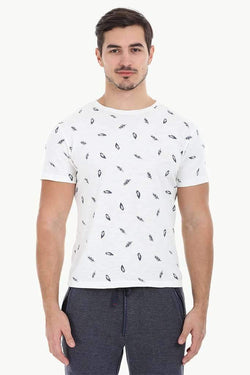 Feather Print Heather Crew