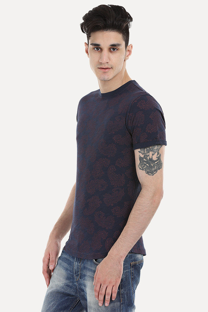Floral Outline Short Sleeve Crew
