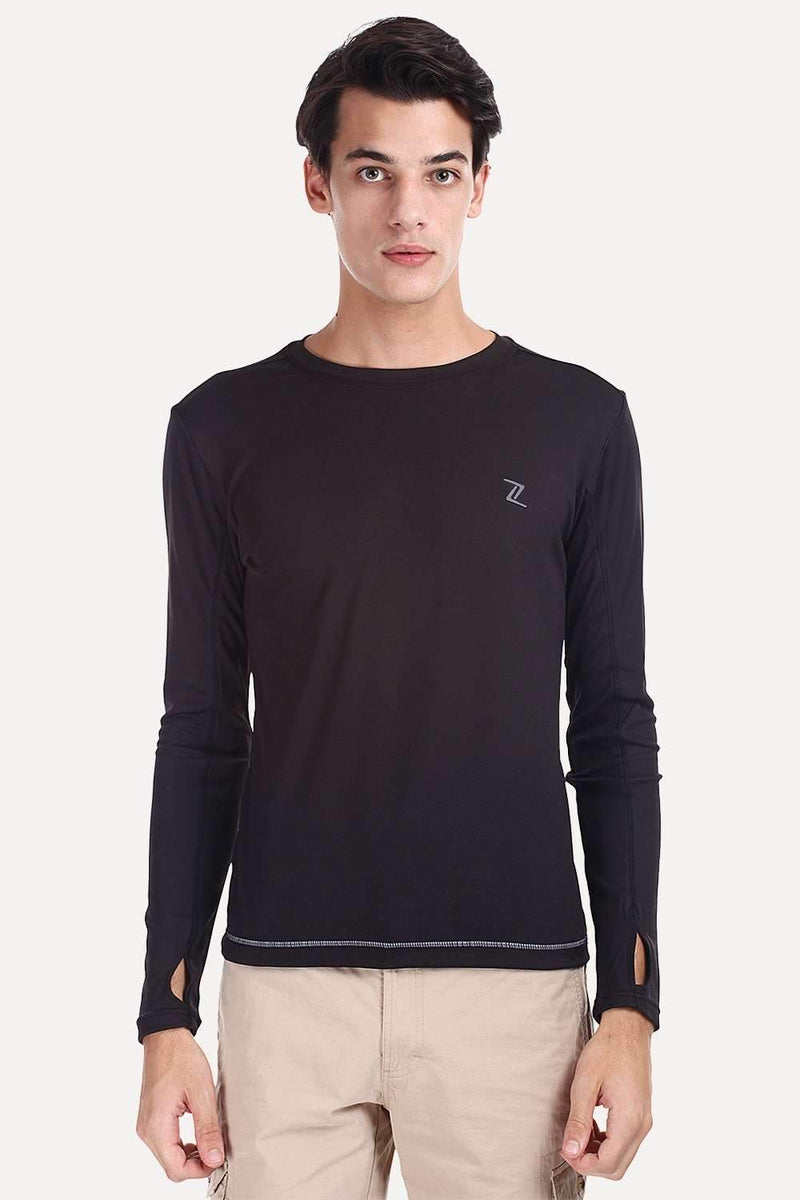 Long Sleeve Solid Crew Neck Performance Wear Tee