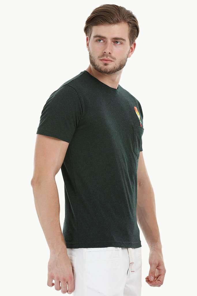 Green Parrot Embroidered T-Shirt