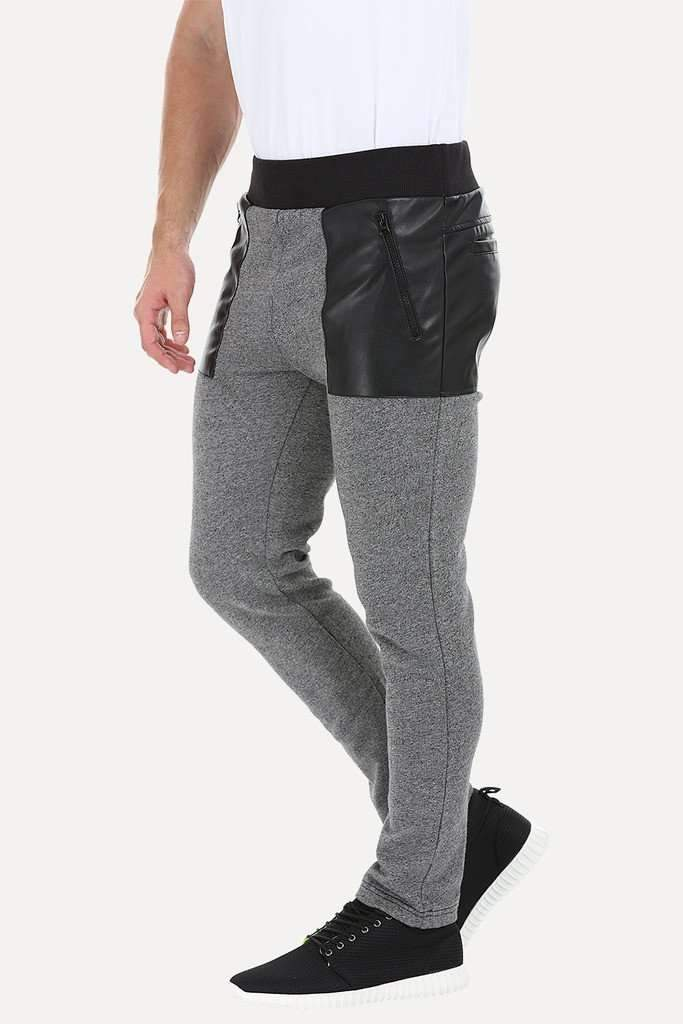 Heather Knit Sweatpants With Faux Leather Patch
