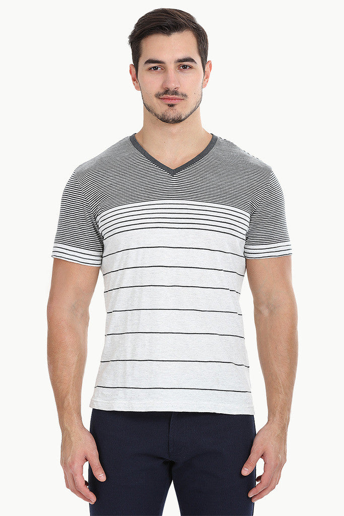 Heather Off-White Black Stripe Shirt