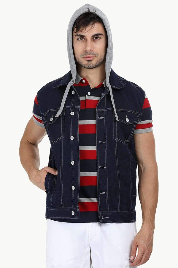 Hooded Sleeveless Indigo Denim Jacket