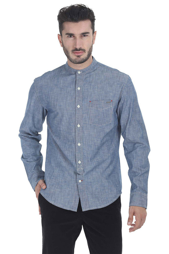 Indigo Band Collar Shirt With Tie Placket