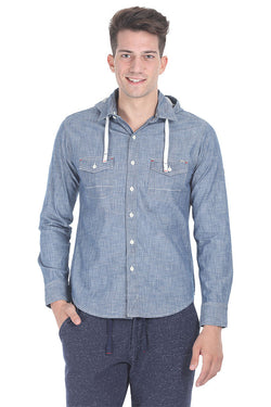 Indigo Detachable Hooded Shirt